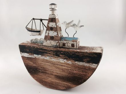 Rocking Lighthouse & Birds Distressed Wooden Ornament